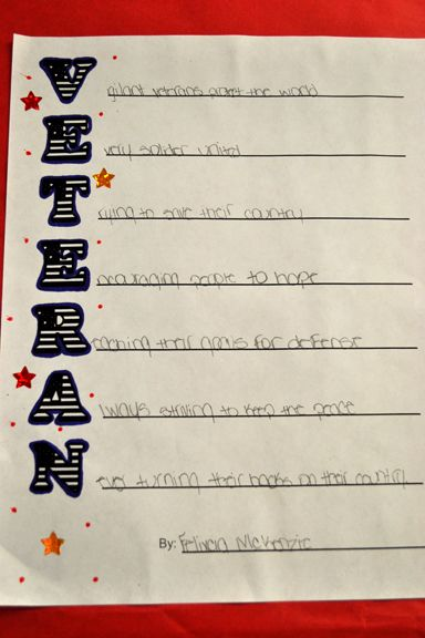 Veterans Acrostic Poems 1