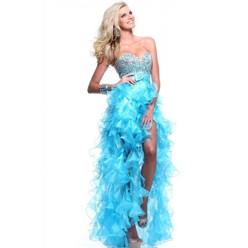 turquoise evening dresses | ... Line Sweetheart Beading Bow Ruffled ...
