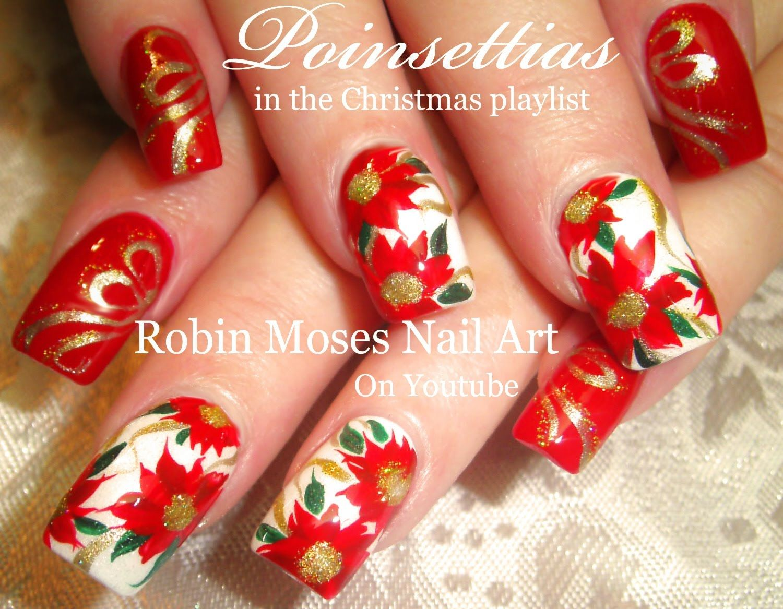 Nail Art Tutorial | Christmas Flower Nails | Poinsettia Nail Art ...