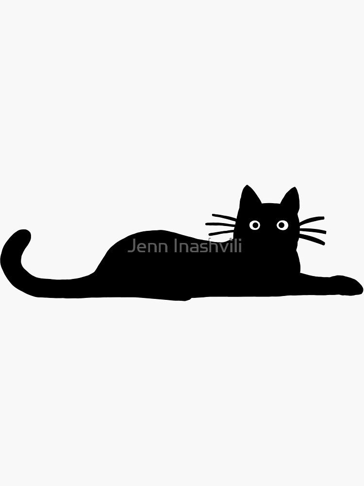 Black Cat Sticker By Jenn Inashvili In 2021 Black Cat Sticker Black Cat Painting Black Cat Drawing