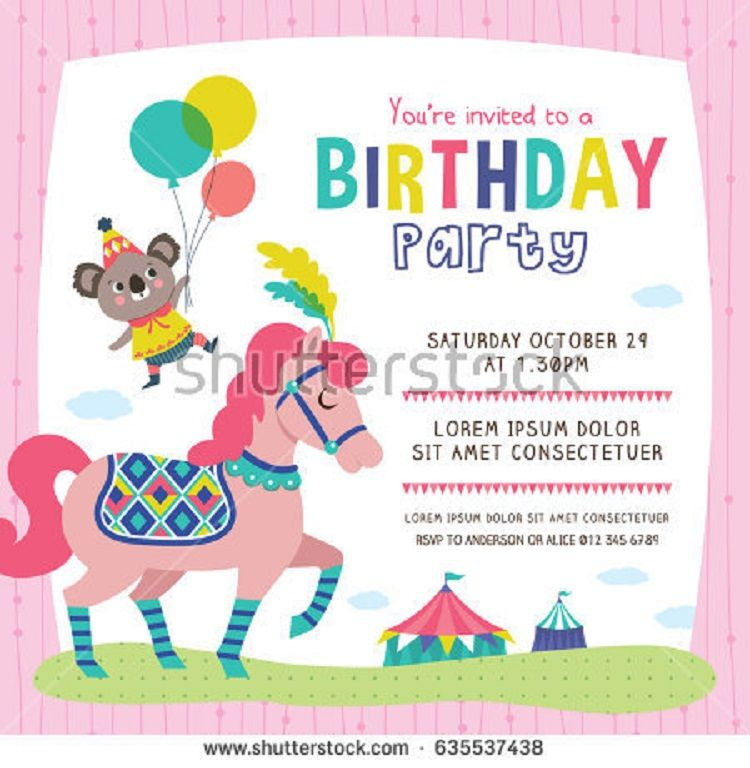 Vector Birthday Invitation Rsvp Wording