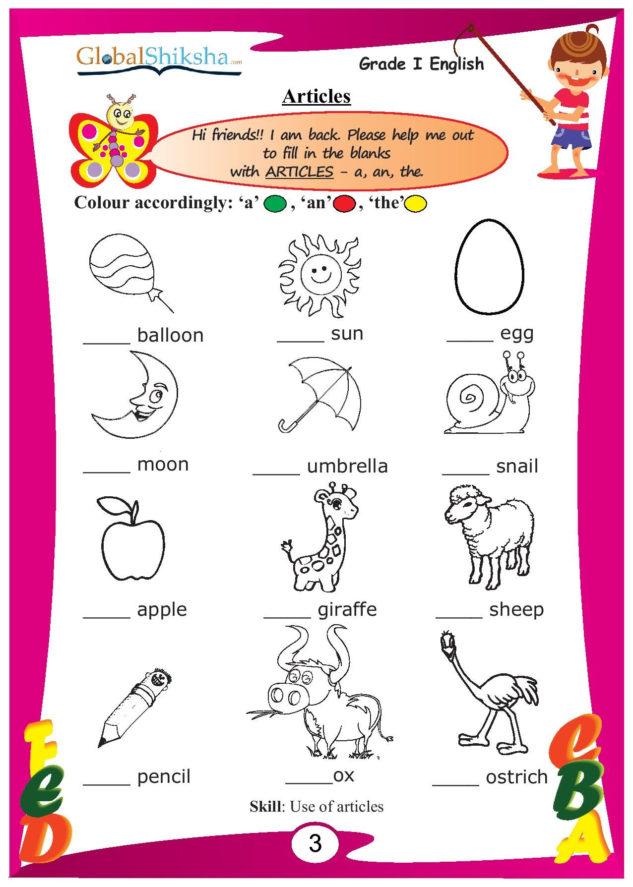 Sr Kg English Worksheet