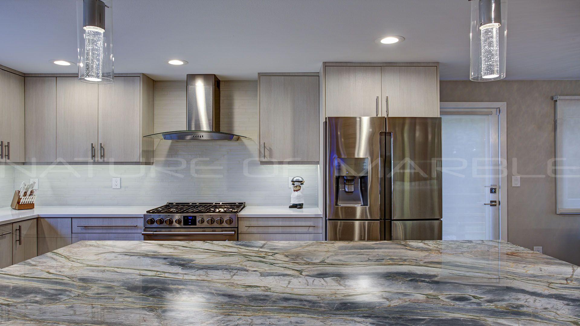 Modern Concept with Michelangelo Quartzite kitchen island ...