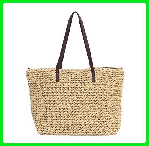 c07a8f0291d4 Sornean Large Handmade Straw Summer Beach Tote Sea Shoulder Handbag for  Women (Khaki) - Totes ( Amazon Partner-Link)