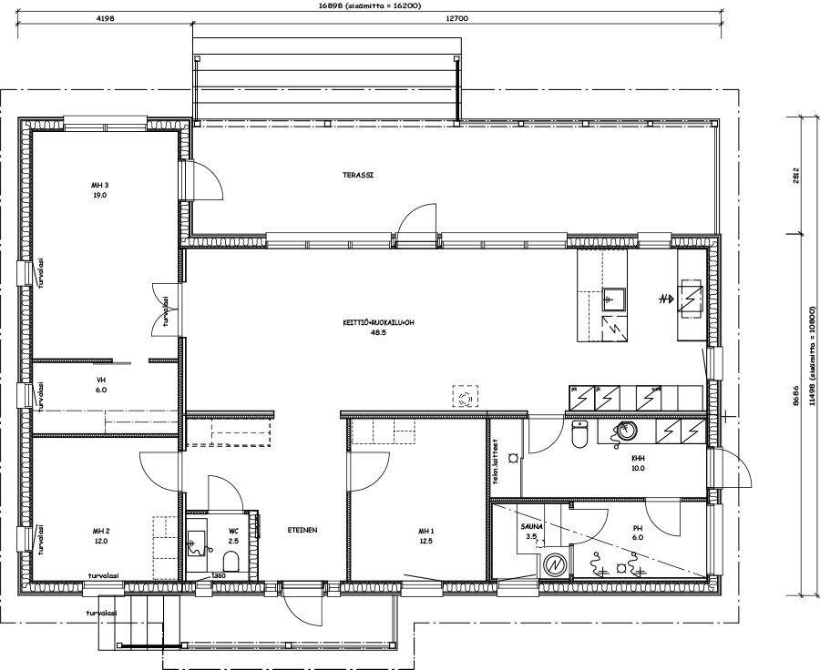 MUUTTOVALMIS VALO SIPOON SÖDERKULLASSA - Kannustalo Architecture - plans de maison gratuit plain pied