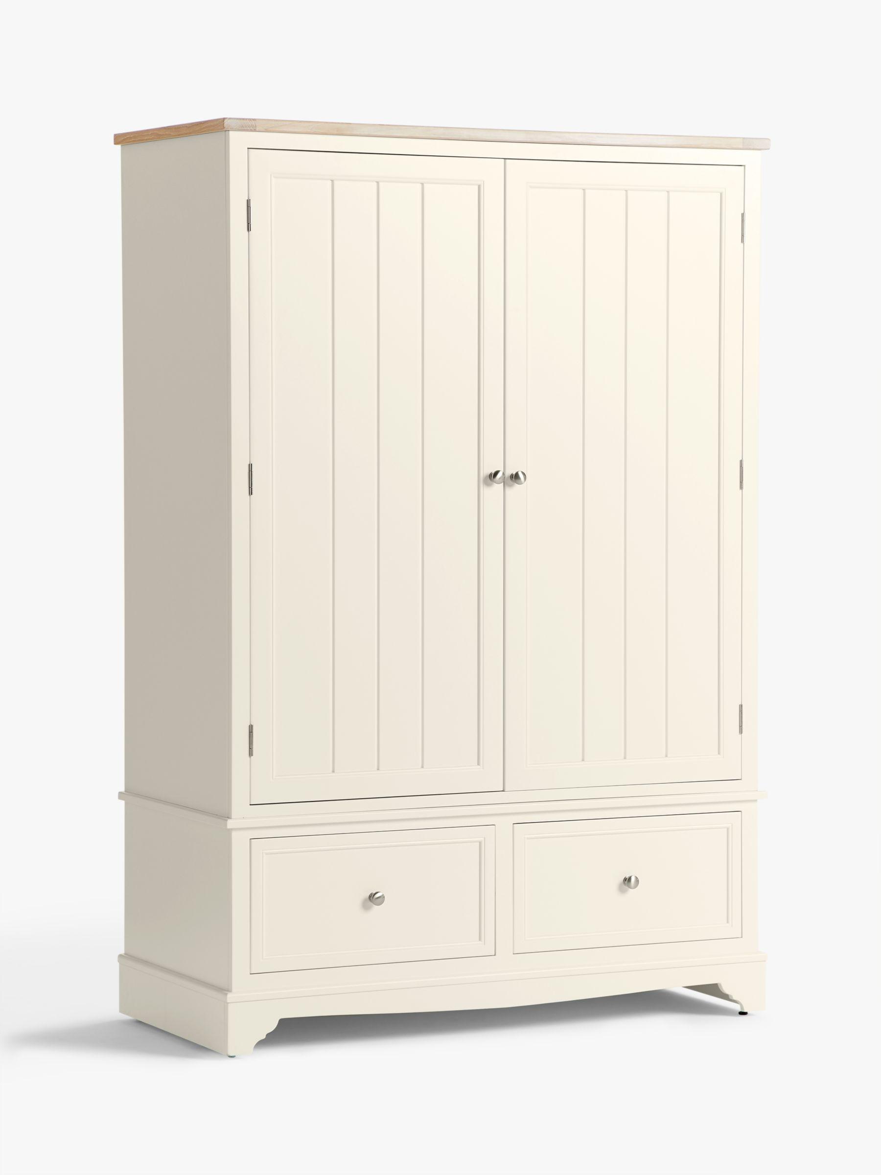John Lewis Partners St Ives 2 Door 2 Drawer Wardrobe Fsc Certified Oak Birch Oak Veneer Mdf White Haze Products In 2019 Tall Cabinet Storage John Lewis Hanging Rail