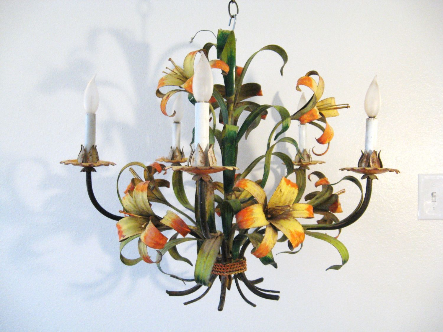 50s tiger lily vintage tole chandelier home pinterest 50s tiger lily vintage tole chandelier arubaitofo Image collections