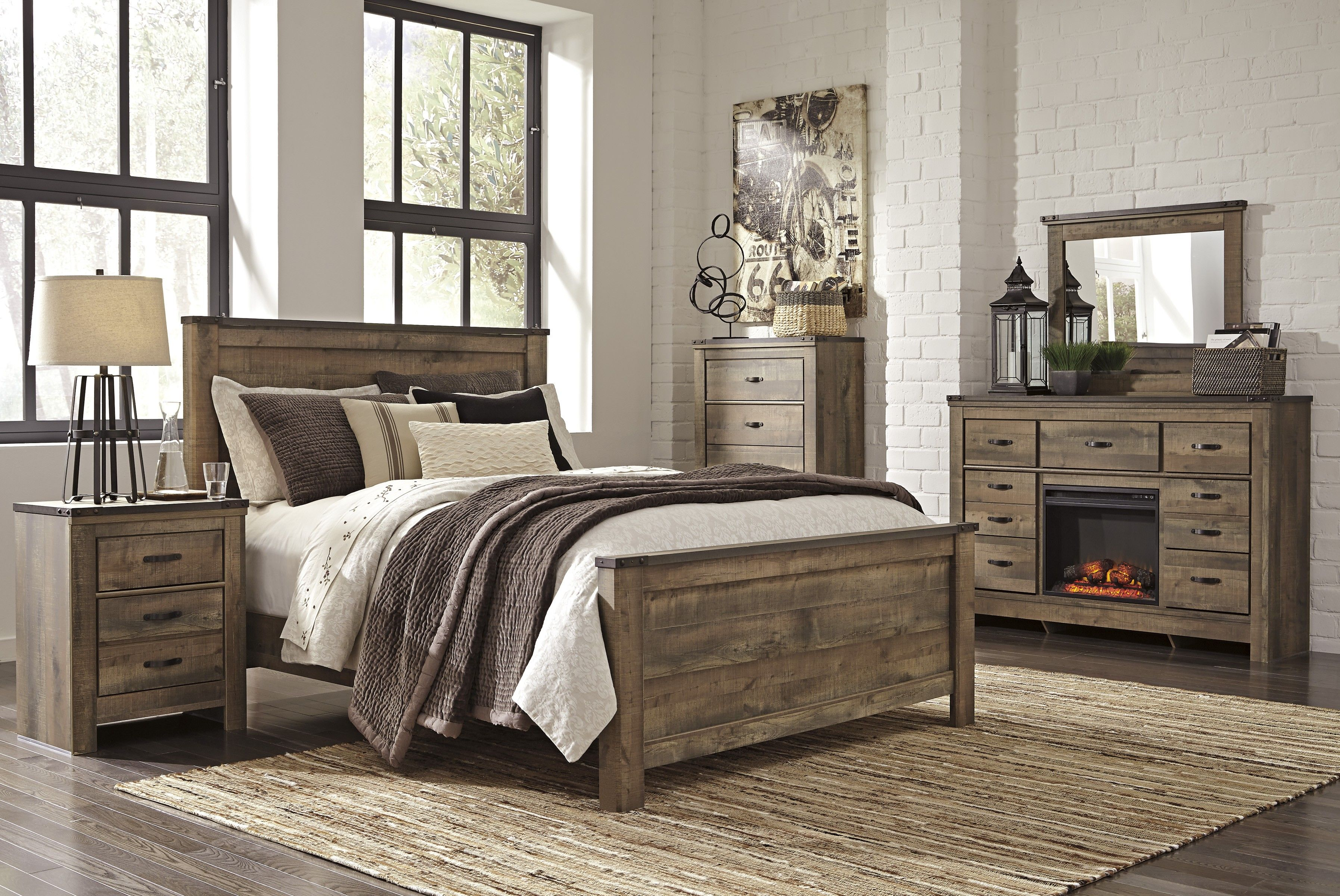 Trinell Panel Bed Queen Bedroom Sets Master Set Farmhouse Furniture