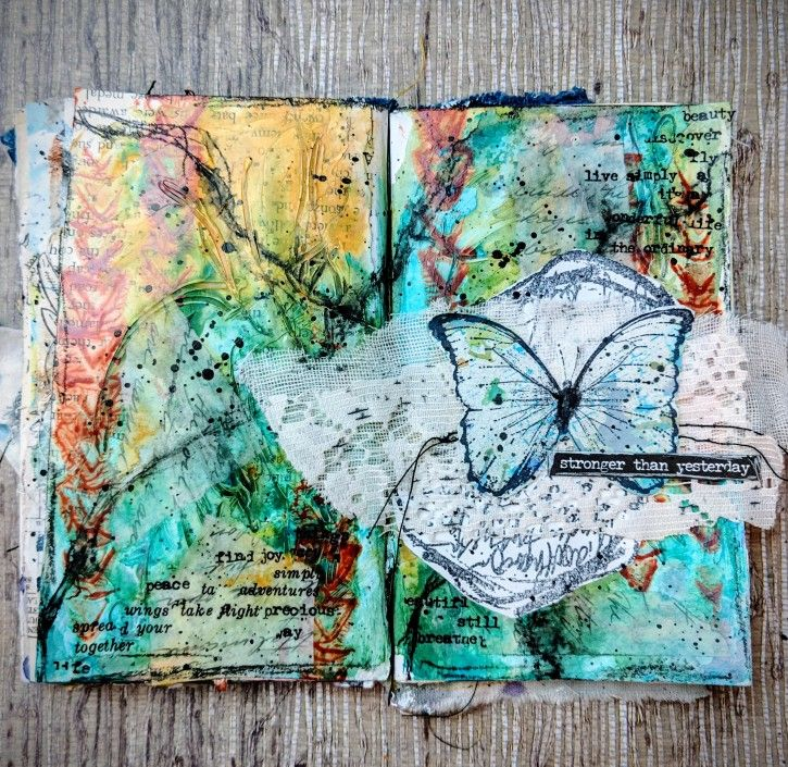 DecoArt - Mixed Media Blog - Article - Stronger Art Journal Spread #artjournalmixedmediainspiration