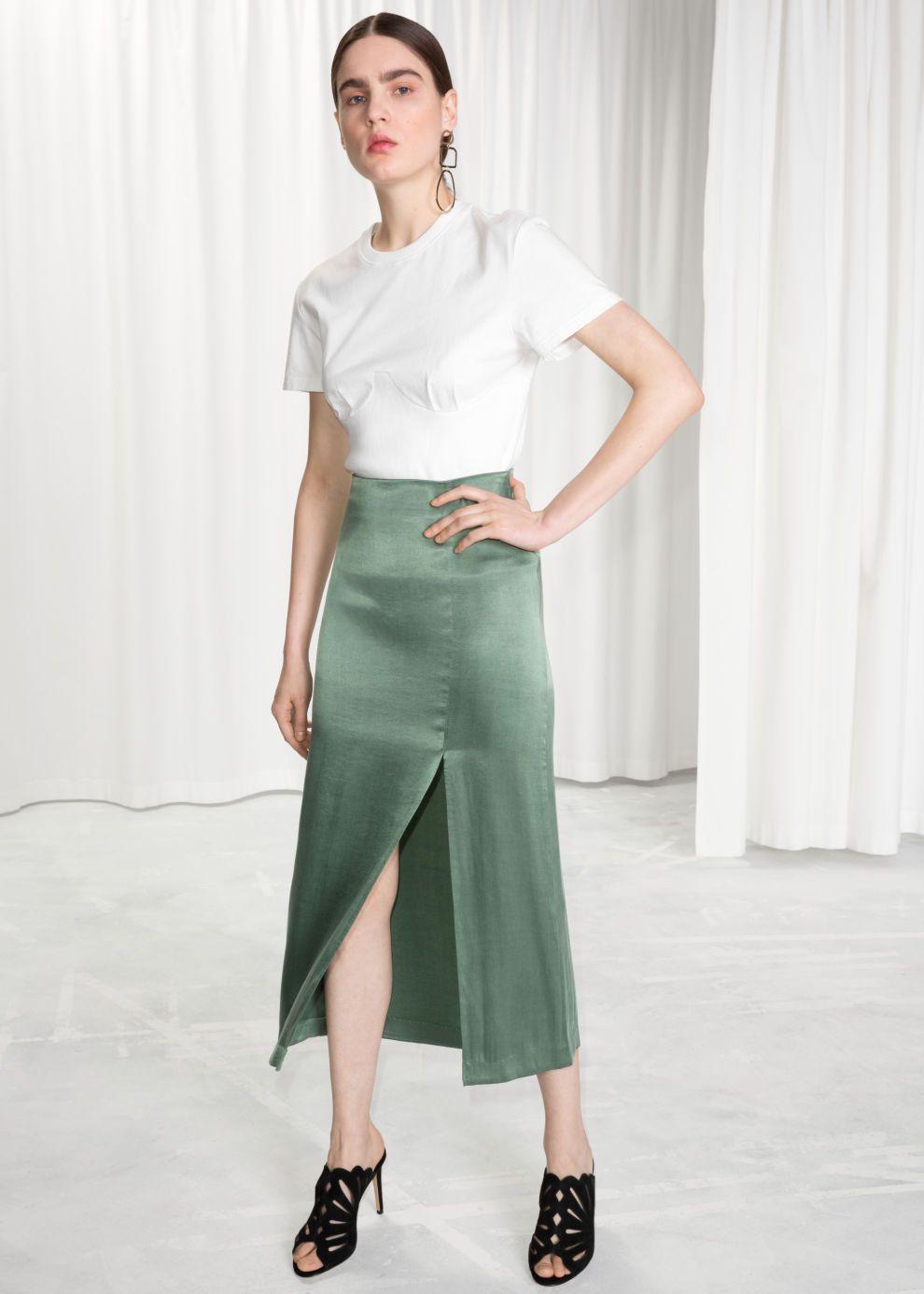 4db9def755d1 Model front image of Stories side slit midi skirt in green | women ...