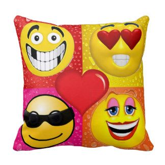 Funny Emoji Face Throw Pillows Pillows Pouffes