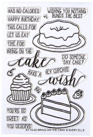 """Avery Elle Bring on The Cake Stamp Set, 4 by 6"""", Clear"""