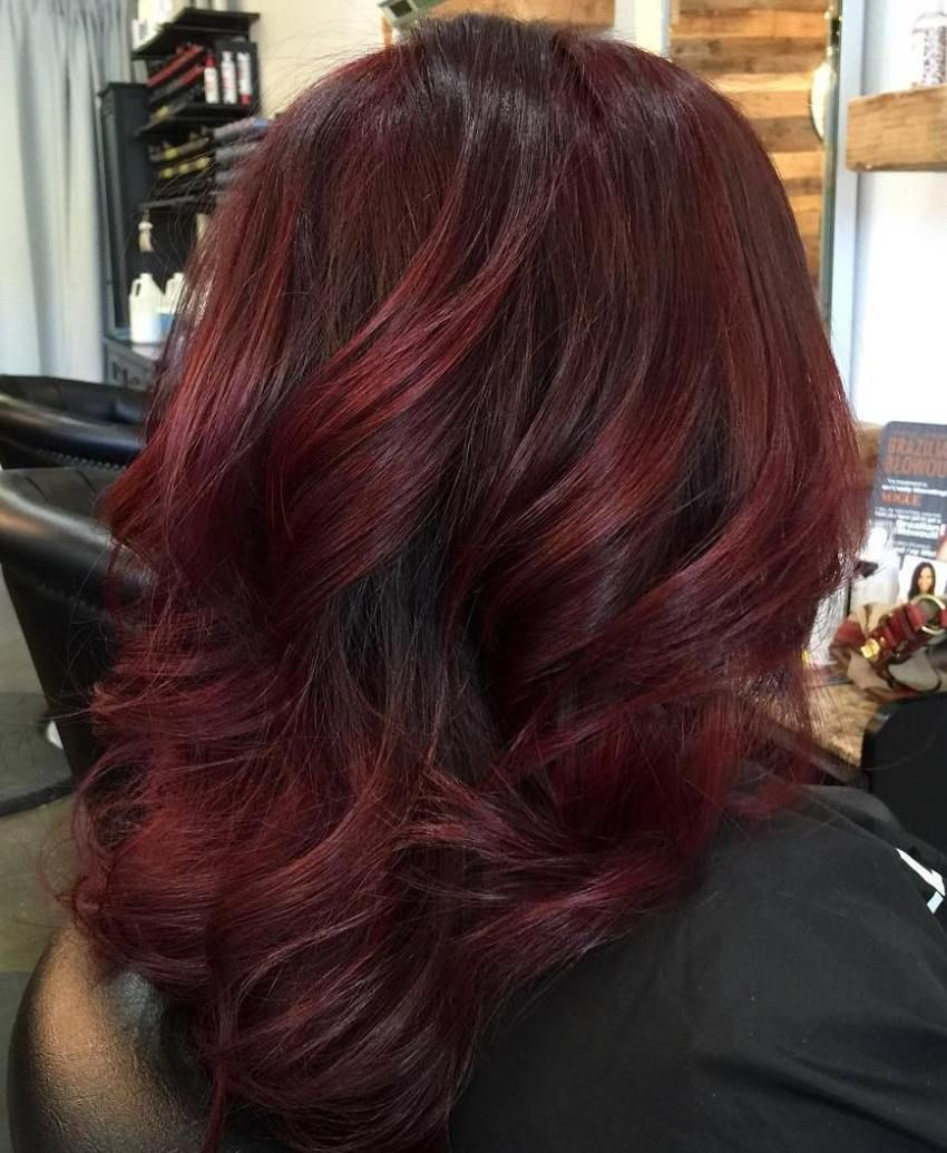 Thick Medium Length Burgundy Hair  Dark red hair color, Burgundy