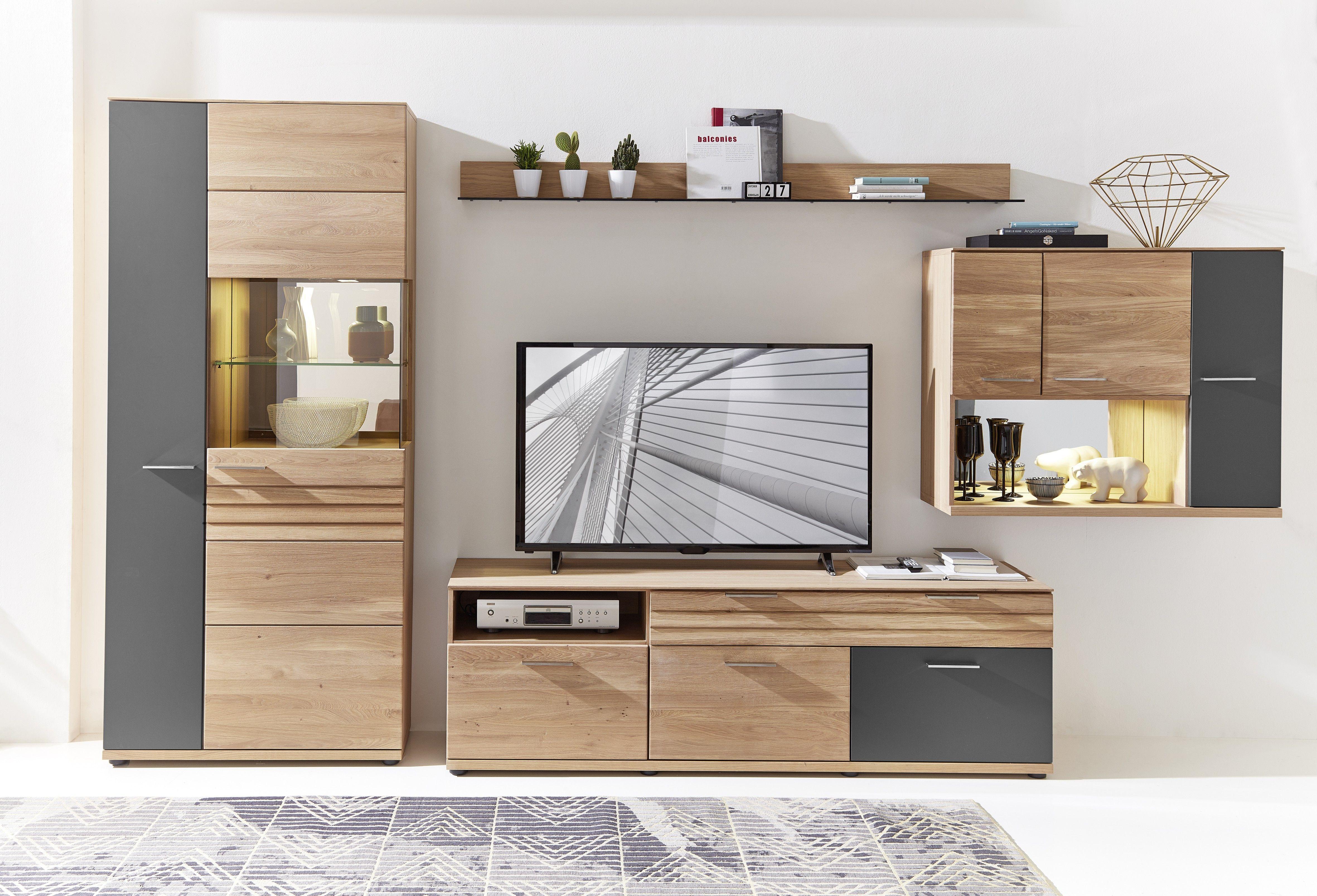 Wohnwand Teilmassiv Wildeiche Bianco/ Graphit Und Beleuchtung Woody  22 01170 Holz Modern Jetzt Bestellen