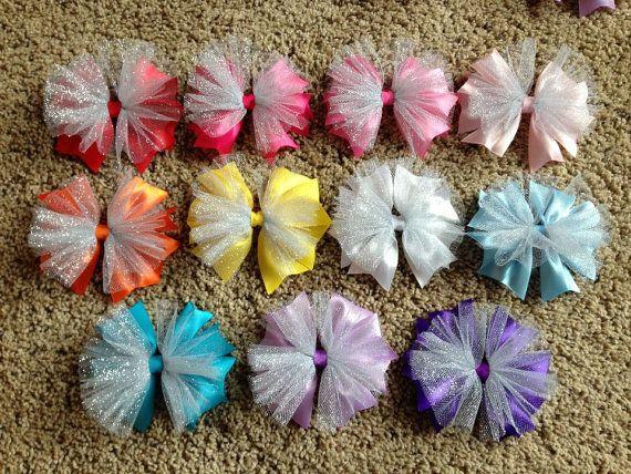 Glitter Tulle Spirit Hair Bow Choice Color by LittleCupcakeGirls, $5.25