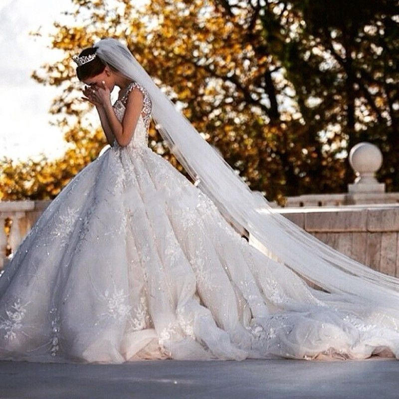 Luxury Cathedral Train Ball Gown Wedding Dresses Vintage Crystal Beading Lace