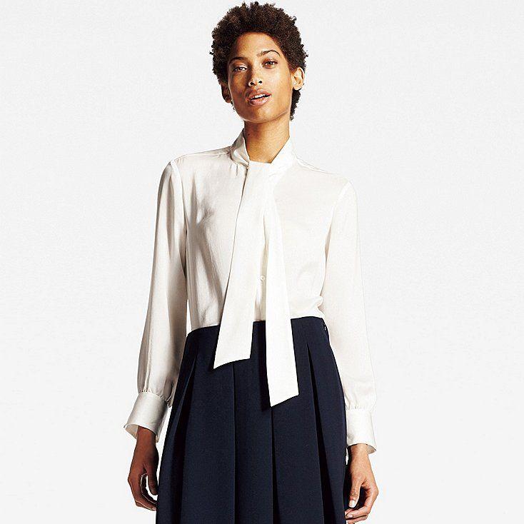 c22492e40a8032 Women satin bow tie long sleeve blouse | Obligatory Fashion Board ...