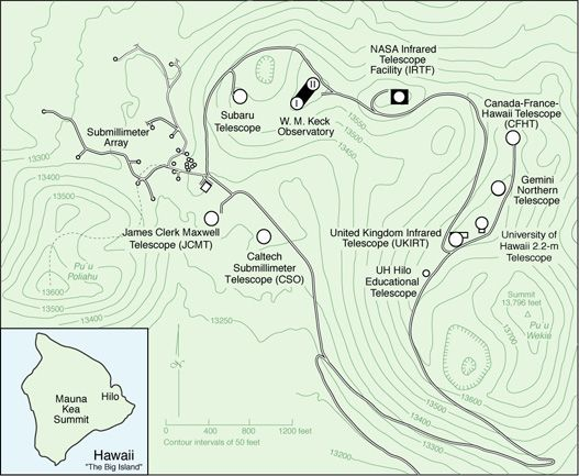 Mauna Kea Summit Map Mauna Observatories Hawaii Astronomy