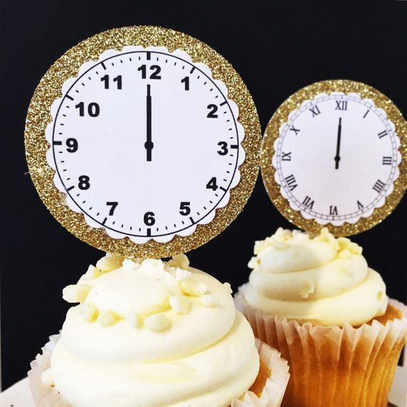 New Year's Eve Party Decorations - NYE Party Decorations - Cupcake Toppers - Clock Cupcake To... New Year's Eve Party Decorations - NYE Party Decorations - Cupcake Toppers - Clock Cupcake Topper - Cupcake Picks - New Years Decorations,