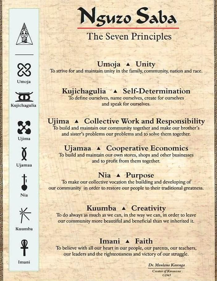 The Nguzo Saba Of The Seven Days Of Kwanzaa Day 1 Umoja Means Unity Day 2 Kujichagulia Means Self Determinatio In 2020 Self Determination Kwanzaa Principles To Strive