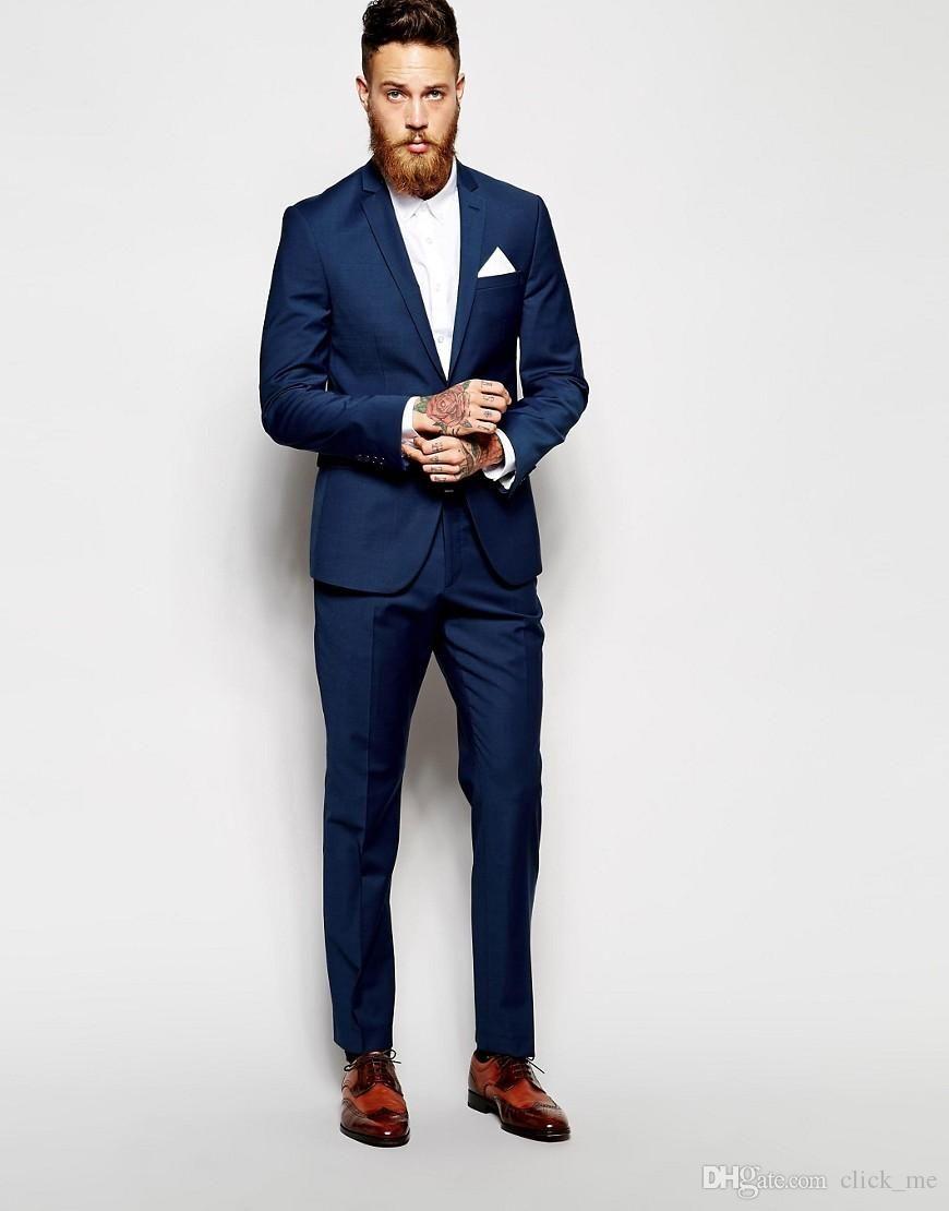 96c35afc7 Custom Made Groom Tuxedos Groomsmen Dark Blue Vent Slim Suits Fit Best Man  Suit Wedding Men 039 s Suits Bridegroom Groom Wear (Jacket+Pants)