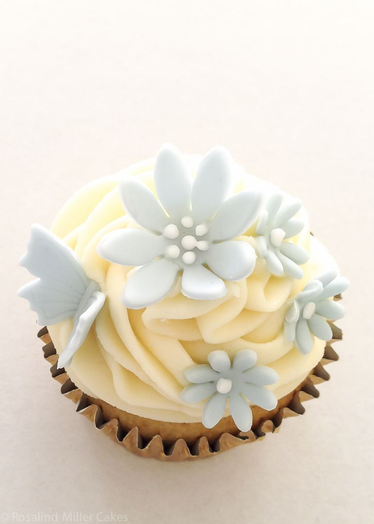 Blue Flowers and Butterflies Buttercream Cupcake | Cakes ...