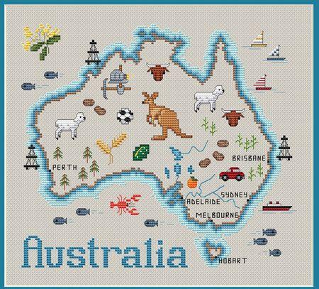 Map Of Australia Cross Stitch Pattern Cross Stitch Map Flag
