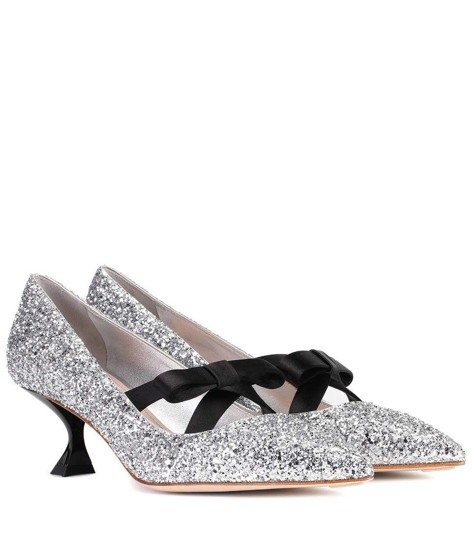 Glitter kitten-heel pumps Miu Miu PaxCt8