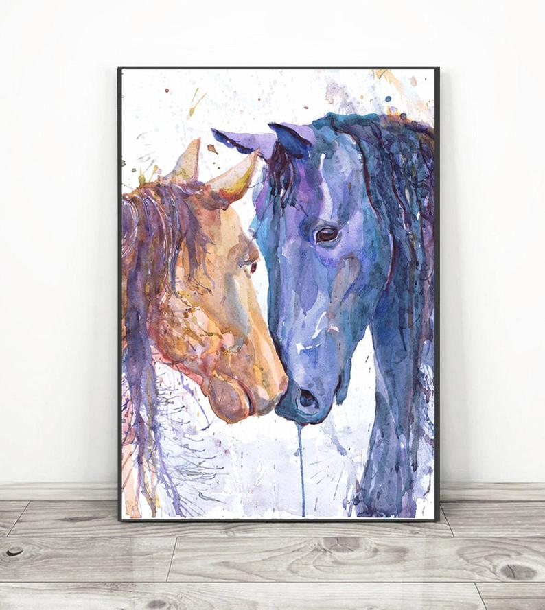Watercolor Horse Wall Art 3 Piece Gallery Wall Set Equestrian Etsy Horse Wall Art Watercolor Horse Horse Painting