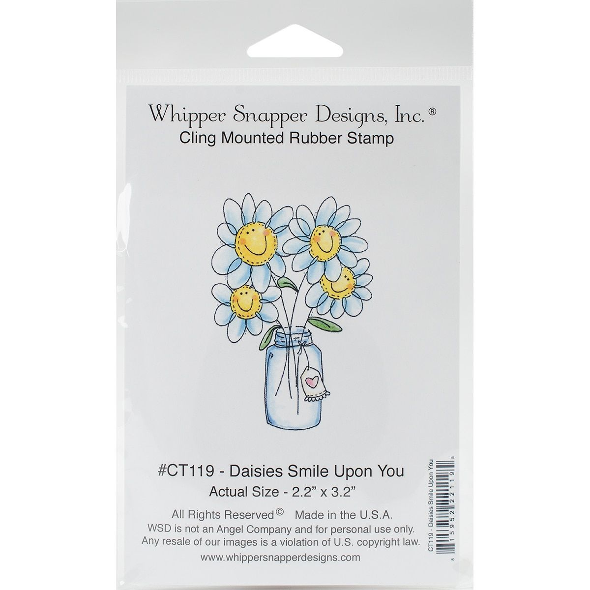 Whipper Snapper Cling Stamp 4X6-Daisies Smile Upon You