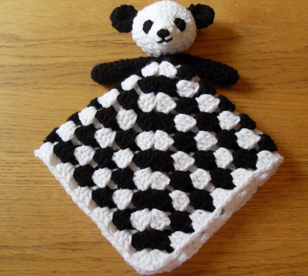 Panda bear baby security blanket lovey comforter crochet and panda bear baby security blanket lovey comforter crochet pattern by peach bankloansurffo Images