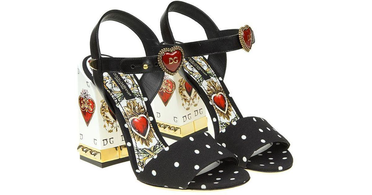 8fbc30ca8af9 Lyst - Dolce   Gabbana Cady Sandals With Playing Cards Print in Black