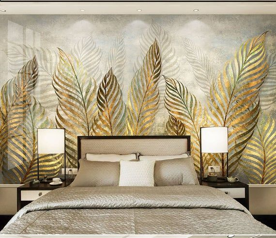 Tropical Flowers Wall Mural Hawaii Flowers Wall Decor #131 Leaves Removable Wallpaper Turquoise Exotic Wallpaper Peel/&Stick
