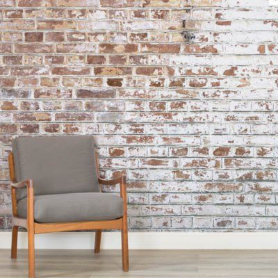 Add a contemporary look to your home with a textured wallpaper mural from faux brick