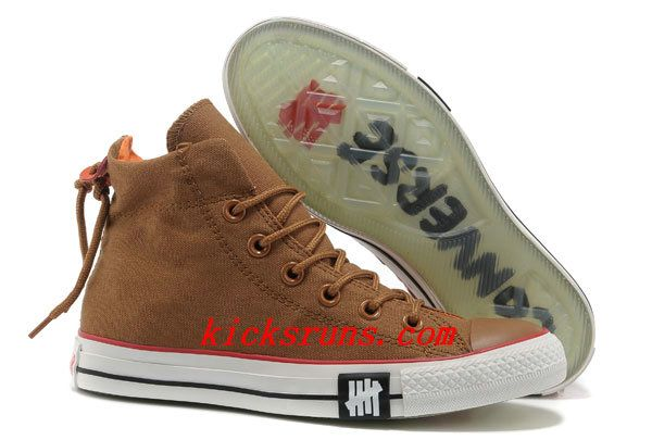 2013 Undefeated Khaki Converse All Star High Tops Canvas Clear Rubber Soles