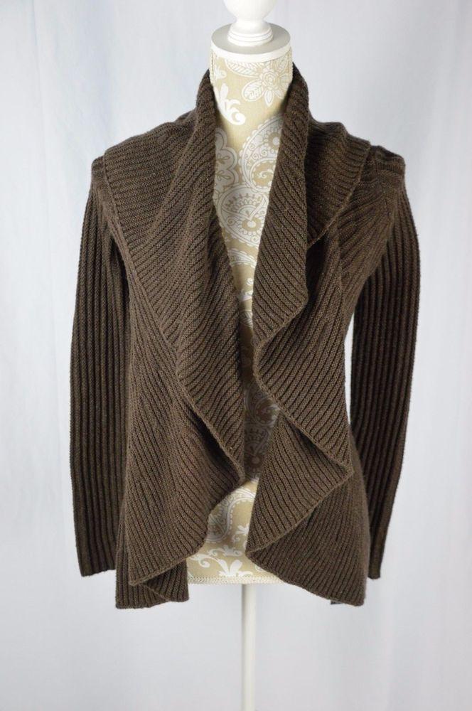 Inc Womens Small Long Sleeve New Dark Brown Open Cardigan Sweater