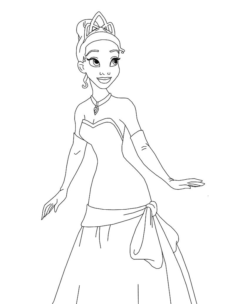 Coloring book disney princess - Tiana The Princess Coloring Page Princess And The Frog Coloring Pages
