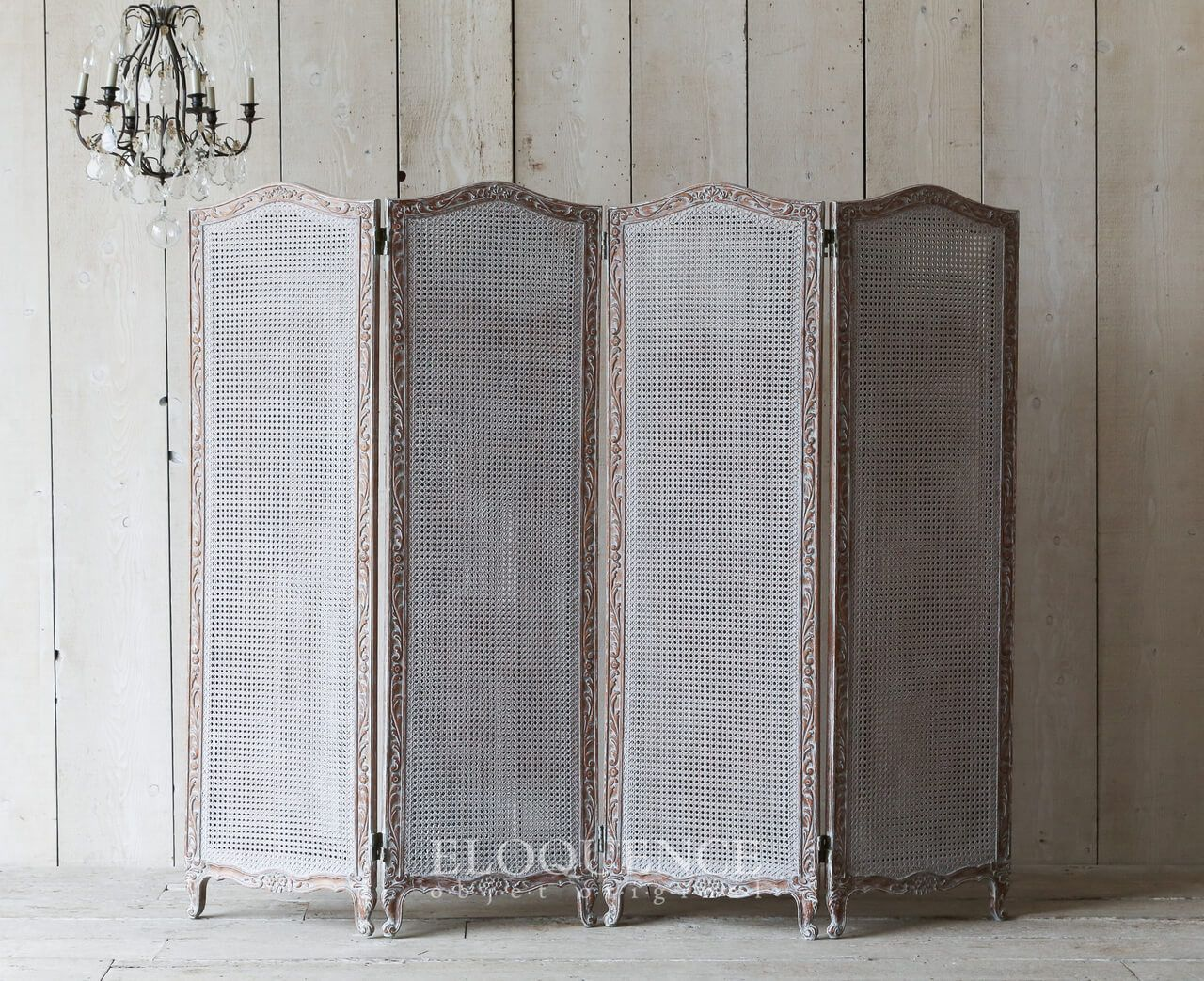 Vintage dressing screen cane inserts hand carved on