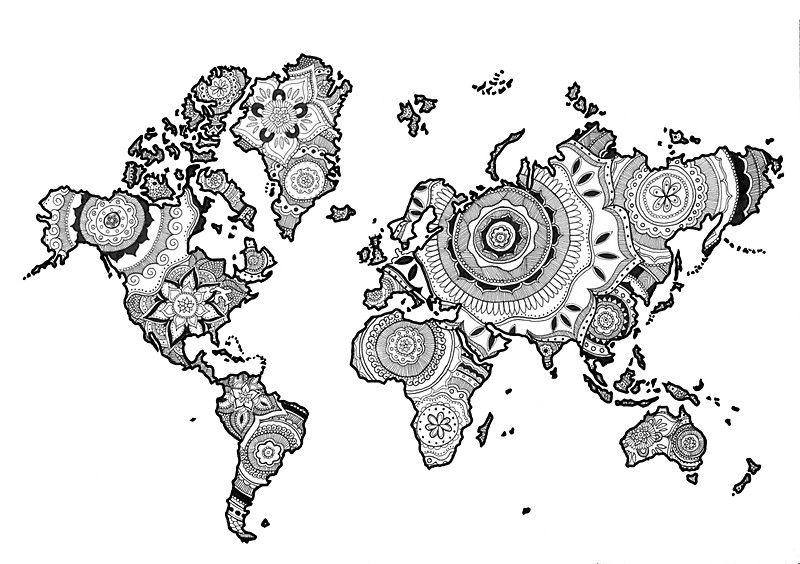 Mandala World World Map Coloring Page Mandala Outline Art