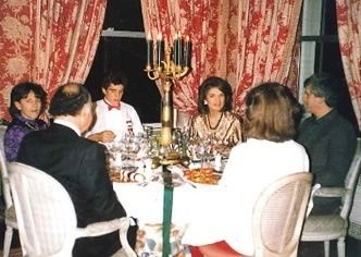 One Of Jackie S Famous Christmas Parties At Her 1040 Apartment In Nyc The Guest Shown Are Maurice Marta John Ed And Caroline