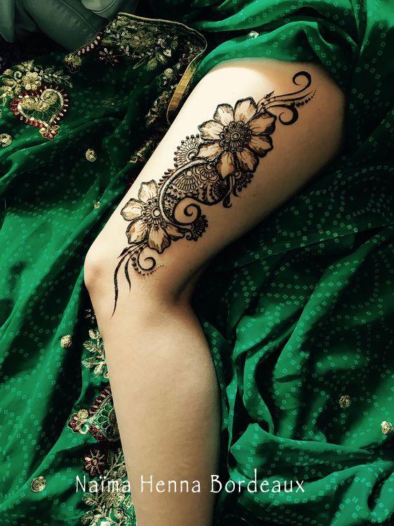 henné cuisse floral, fleur tattoo cuisse tatouage au henné naturel