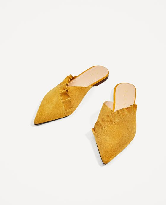 ZARA - WOMAN - LEATHER MULES WITH FRILL