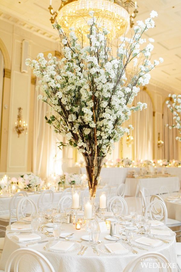 An All-White Wedding Filled with Cherry Blossoms and Pops of Peonies - WedLuxe Magazine