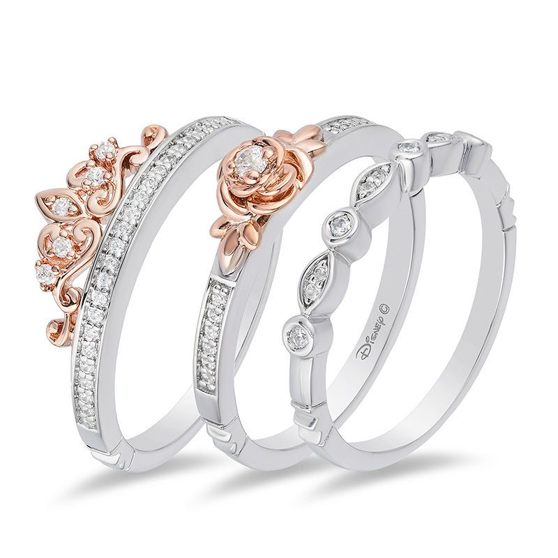 Enchanted Disney Belle 1 5 Ct T W Diamond Rose Stackable Band Set In Sterling Silver And 10k Rose Gold Size 7 Zales Disney Wedding Rings Disney Engagement Rings Gemstones Jewelry Rings