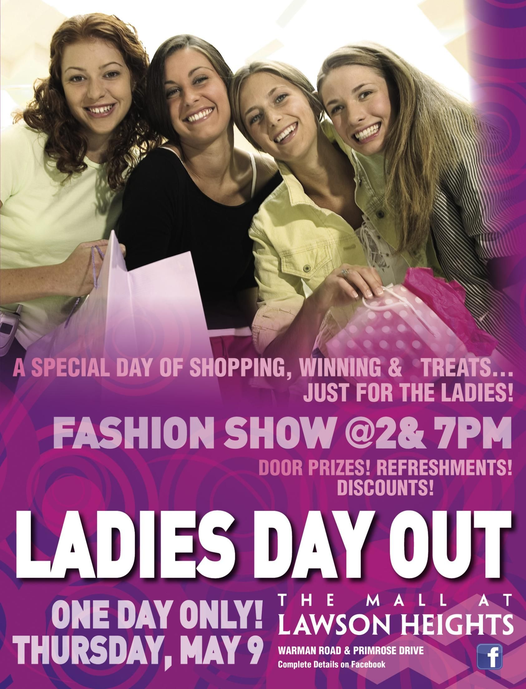 The mall will be hosting a Ladies Day Out on May 9, 2013 including 2 fashion shows, door prizes, discounts, refreshments and store specials! More details on specific prizes and specials to follow soon!