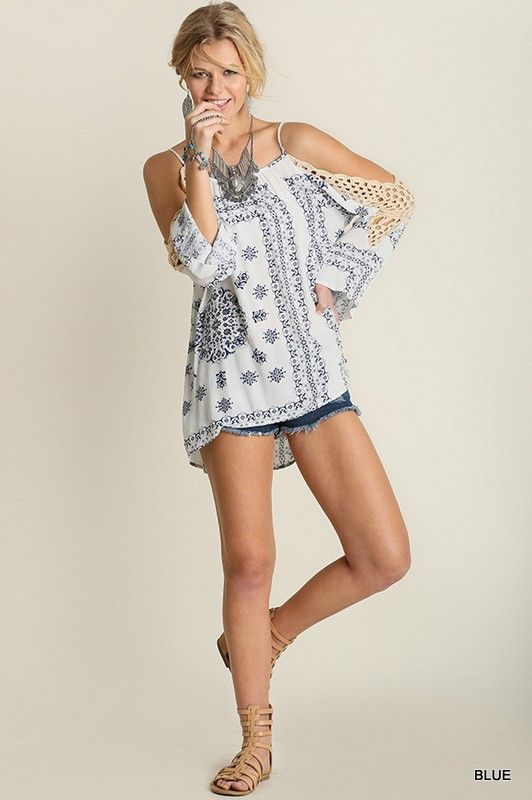 419dea25dd811d Casual Sunday Cold Shoulder Top Crocheted Lace Blue on White Print S M L