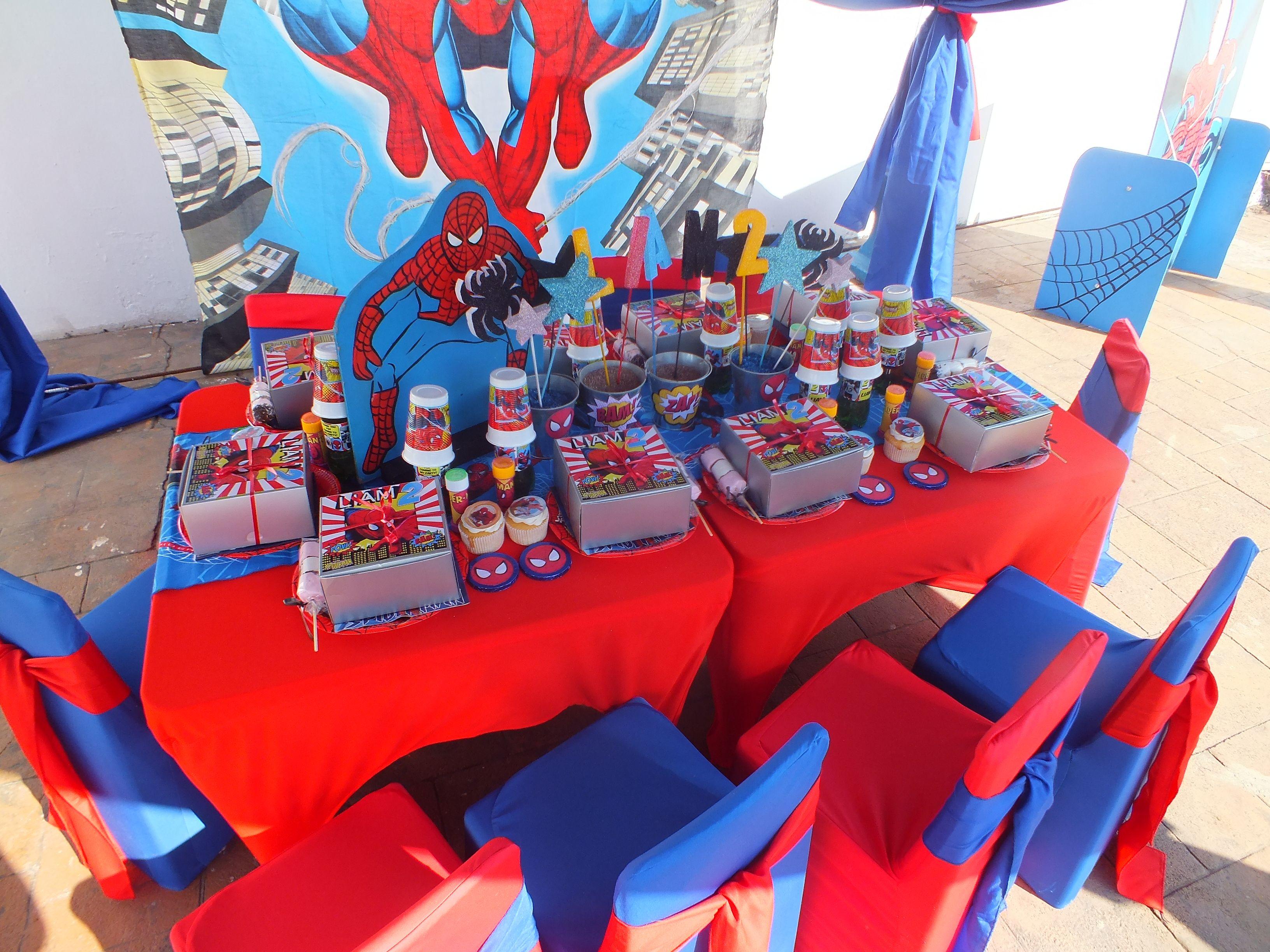 Spiderman Theme Set Up Spiderman Theme Table Decorations