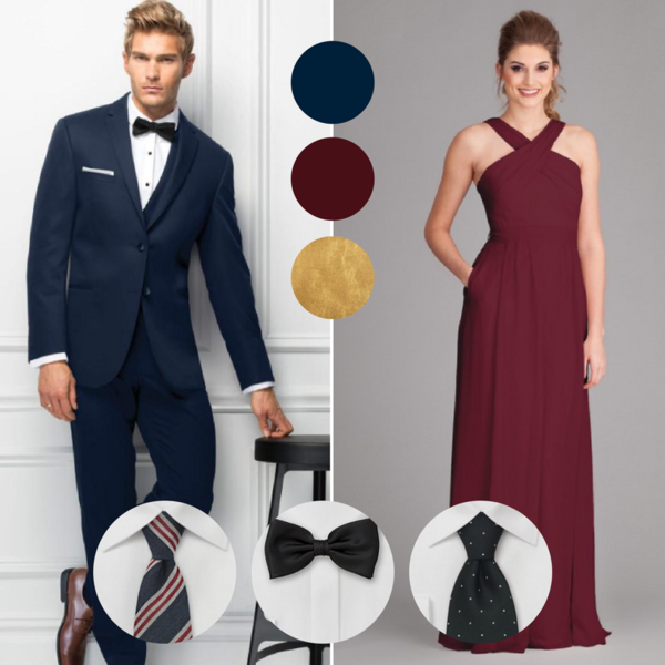 c87c22a36c2 Navy blue suits and bordeaux dresses are the ultimate wedding combination
