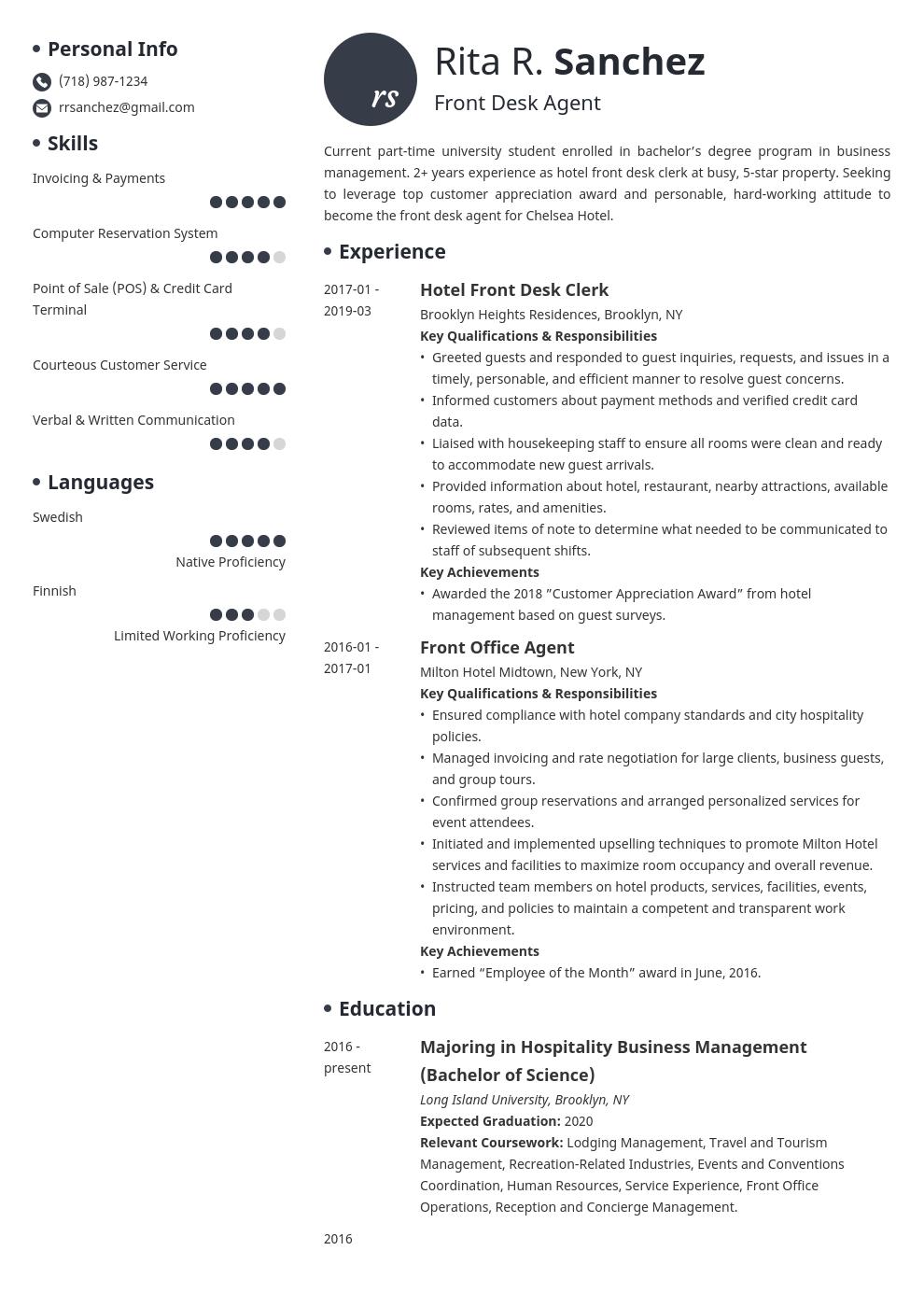 front desk resume example template initials  job resume