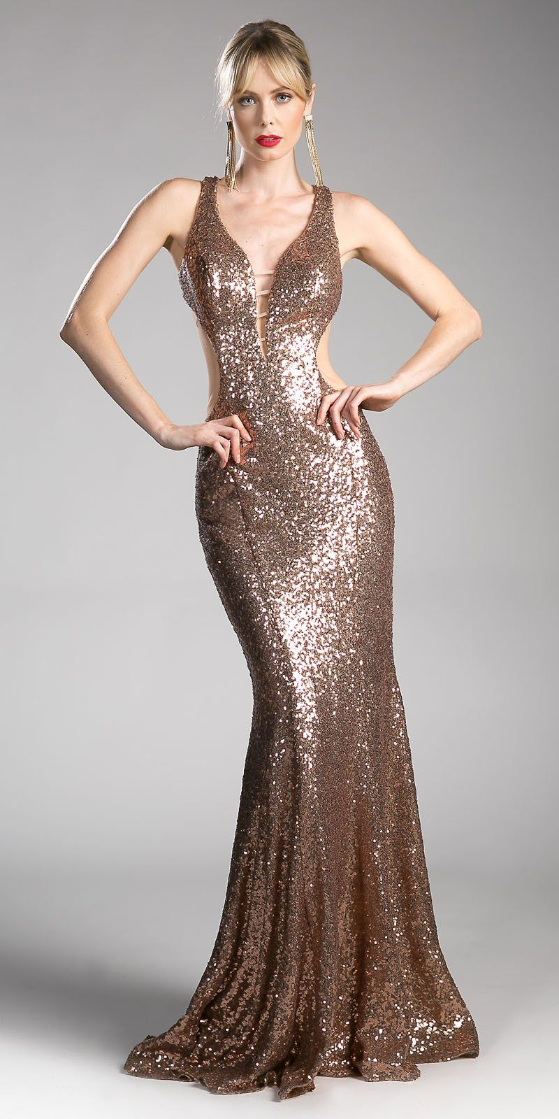 Gold sequins mermaid long prom dress cut out open back long prom